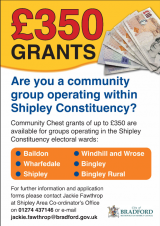 Grants available for community groups in Shipley Constituency