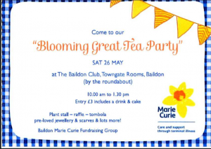 Blooming Great Tea Party Saturday 26 May
