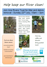 Aire Rivers Trust clean up Sunday 22 July 10am to 3pm