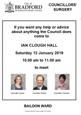 Councillors' Surgery 12 January 10am Ian Clough Hall