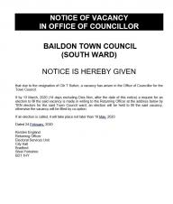 Notice of a Vacancy in the South Ward
